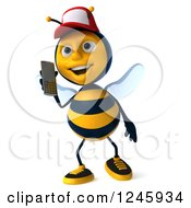 Clipart Of A 3d Bee Wearing A Baseball Cap And Talking On A Cell Phone Royalty Free Illustration