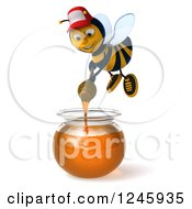 Clipart Of A 3d Bee Wearing A Baseball Cap And Stirring A Jar Of Honey Royalty Free Illustration