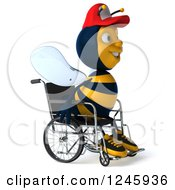 Clipart Of A 3d Handicap Bee Wearing A Baseball Cap And Sitting In A Wheelchair Royalty Free Illustration