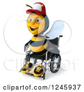 Clipart Of A 3d Handicap Bee Wearing A Baseball Cap And Sitting In A Wheelchair 2 Royalty Free Illustration