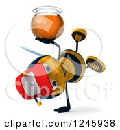 Clipart Of A 3d Bee Wearing A Baseball Cap And Cartwheeling With A Jar Of Honey Royalty Free Illustration