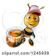 Clipart Of A 3d Bee Wearing A Baseball Cap And Holding Up A Jar Of Honey Royalty Free Illustration