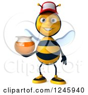 Clipart Of A 3d Bee Wearing A Baseball Cap And Holding A Jar Of Honey Royalty Free Illustration