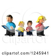Clipart Of A 3d Caucasian Family Using Tablet Computers Royalty Free Illustration