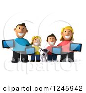 Clipart Of A 3d Caucasian Family And Dog With Tablet Computers Royalty Free Illustration