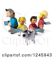 Clipart Of A 3d Dog And Caucasian Family With Tablet Computers Royalty Free Illustration