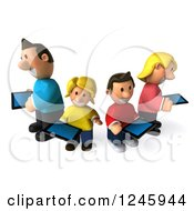 Clipart Of A 3d Caucasian Family Using Their Tablet Computers Royalty Free Illustration