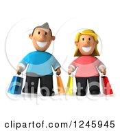 3d Caucasian Couple Carrying Shopping Bags