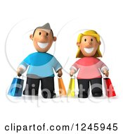 Clipart Of A 3d Caucasian Couple Carrying Shopping Bags Royalty Free Illustration