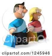 Clipart Of A 3d Caucasian Couple Carrying Shopping Bags 2 Royalty Free Illustration