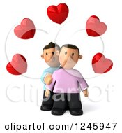 Clipart Of A 3d Sad Gay Couple Under Hearts Royalty Free Illustration by Julos