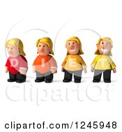 Clipart Of A 3d Blond Woman Shown Losing Weight With DIET Shirts Royalty Free Illustration
