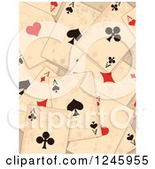Clipart Of A Distressed Grungy Background Of Ace Playing Cards Royalty Free Vector Illustration by Pushkin
