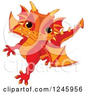 Clipart Of A Cute Red And Orange Baby Dragon Looking Up Royalty Free Vector Illustration