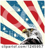 Clipart Of A Bald Eagle And Distressed American Stars And Stripes Royalty Free Vector Illustration