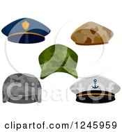Clipart Of Military And Police Hats Royalty Free Vector Illustration by BNP Design Studio