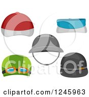 Clipart Of Sports Hats Royalty Free Vector Illustration