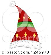 Clipart Of A Santa Or Elf Hat With Diamonds Royalty Free Vector Illustration