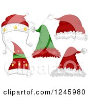 Clipart Of Santa And Elf Hats Royalty Free Vector Illustration