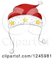 Clipart Of A Red And White Santa Hat With Stars Royalty Free Vector Illustration
