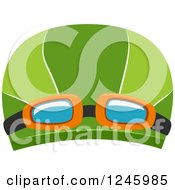 Clipart Of A Swimming Cap With Goggles Royalty Free Vector Illustration