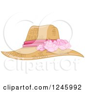 Clipart Of A Ladies Straw Sun Hat With A Pink Floral Ribbon Royalty Free Vector Illustration