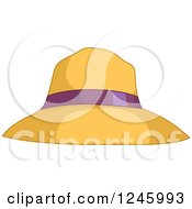 Clipart Of A Yellow Sun Hat With A Purple Ribbon Royalty Free Vector Illustration
