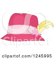 Clipart Of A Ladies Pink Hat With A Feather Plume Royalty Free Vector Illustration