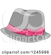 Clipart Of A Ladies Gray Fedora Hat With A Pink Ribbon Royalty Free Vector Illustration