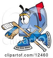 Blue Postal Mailbox Cartoon Character Playing Ice Hockey