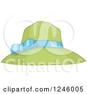 Clipart Of A Green Sun Hat With A Blue Ribbon Royalty Free Vector Illustration