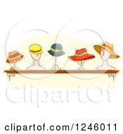 Clipart Of A Collection Of Ladies Hats On Stands Royalty Free Vector Illustration by BNP Design Studio
