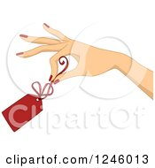Clipart Of A Caucasian Womans Hand Holding A Red Clearance Price Tag Royalty Free Vector Illustration by BNP Design Studio