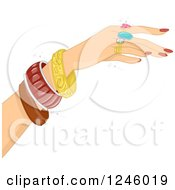 Clipart Of A Caucasian Womans Hand Modeling Jewelry Royalty Free Vector Illustration