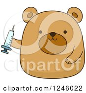 Clipart Of A Brown Bear Doctor Holding A Syringe Royalty Free Vector Illustration