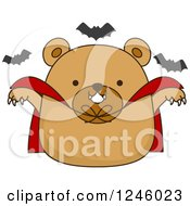 Clipart Of A Brown Bear Vampire With Halloween Bats Royalty Free Vector Illustration