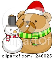 Clipart Of A Christmas Brown Bear With A Snowman Royalty Free Vector Illustration by BNP Design Studio