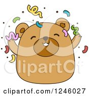 Clipart Of A Brown Bear With Party Confetti Royalty Free Vector Illustration