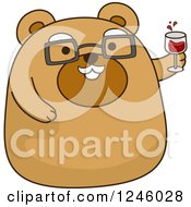 Clipart Of A Senior Brown Bear Cheering With Wine Royalty Free Vector Illustration