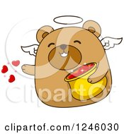Clipart Of A Brown Bear Cupid Tossing Hearts Royalty Free Vector Illustration by BNP Design Studio