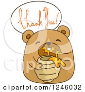 Clipart Of A Brown Bear Eating Honey Under Thank You Text Royalty Free Vector Illustration by BNP Design Studio
