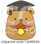 Clipart Of A Brown Bear Graduate With A Medal Royalty Free Vector Illustration