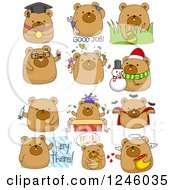 Clipart Of A Brown Bear In Different Poses Royalty Free Vector Illustration