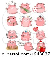 Clipart Of A Pink Pig In Different Poses Royalty Free Vector Illustration