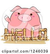 Pink Pig Waving Behind A Hello Fence