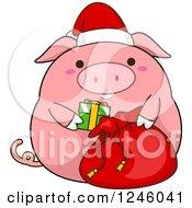 Clipart Of A Pink Christmas Pig Stuffing A Santa Sack Royalty Free Vector Illustration
