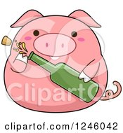 Clipart Of A Pink Pig Popping A Bottle Of Champagne Royalty Free Vector Illustration