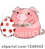 Clipart Of A Pink Pig Painting An Easter Egg With Polka Dots Royalty Free Vector Illustration by BNP Design Studio