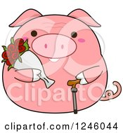 Pink Senior Pig With Flowers And A Cane