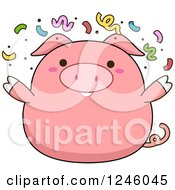 Pink Pig With Party Confetti